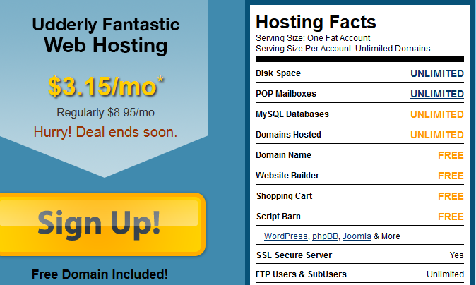 FatCow Shared Hosting Pricing