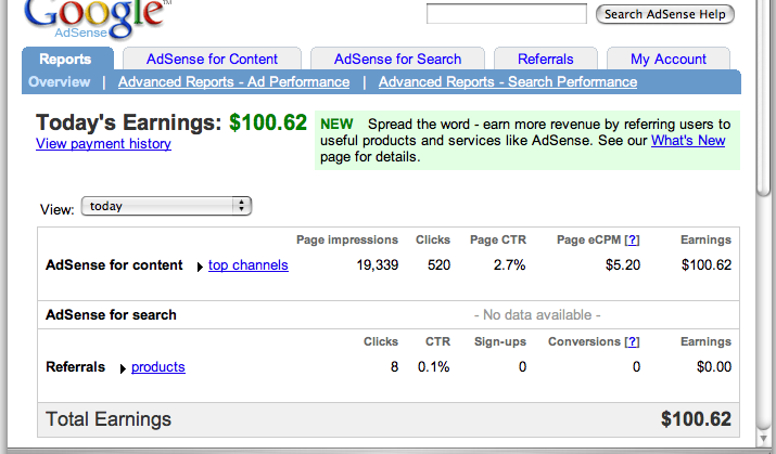 Google AdSense earnings proof