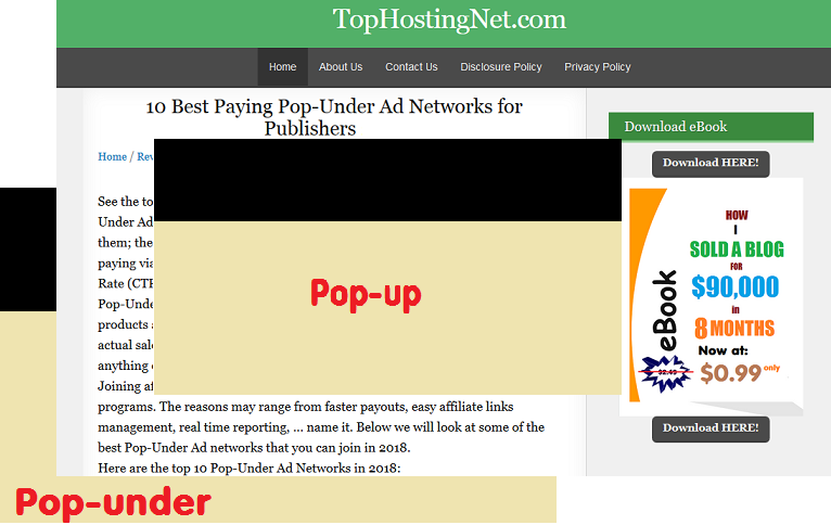 Pop Under Ads Example
